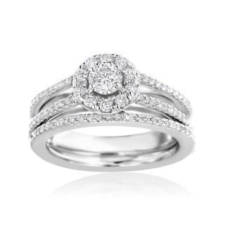SummerRose 14k White gold 3/4ct TDW Diamond Halo Engagement Ring and Wedding Band Set
