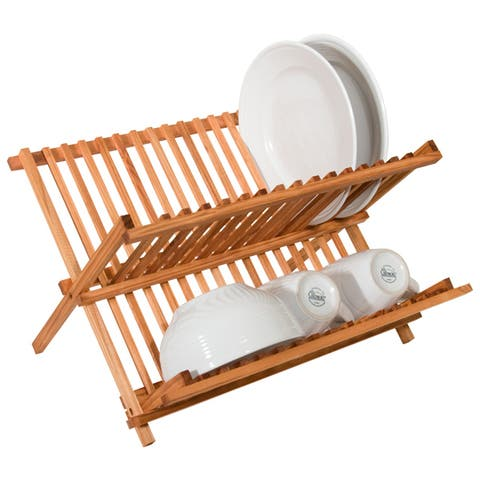 Home Basics Rustic Collection Pine Folding Dish Rack