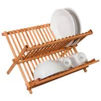Home Basics Rustic Collection Pine Folding Dish Rack