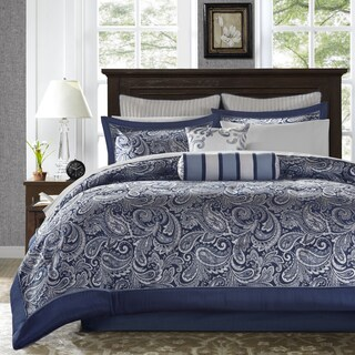 Madison Park Whitman Navy 12-piece Complete Bed Set (3 options available)