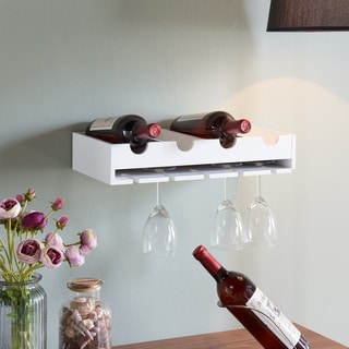 Danya B. 4 Laying Wine Bottle & Wineglass Wall Holder