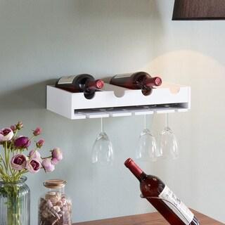Silver Orchid Greta 4 Laying Wine Bottle & Wineglass Wall Holder
