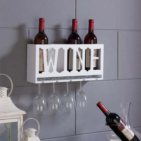 "Danya B. ""WINE"" 4 Bottle & Wineglass Wall Holder"