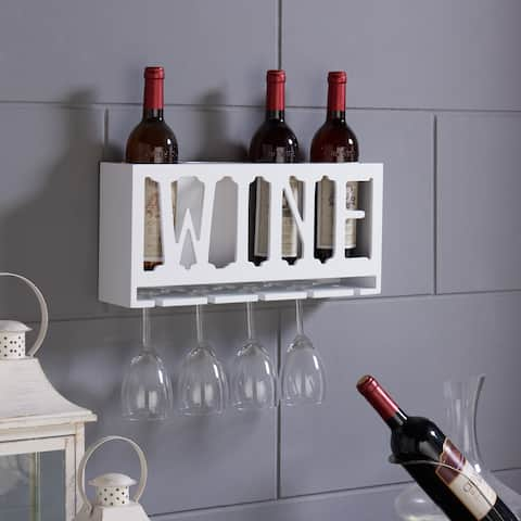 """Danya B. """"WINE"""" 4 Bottle & Wineglass Wall Holder"""