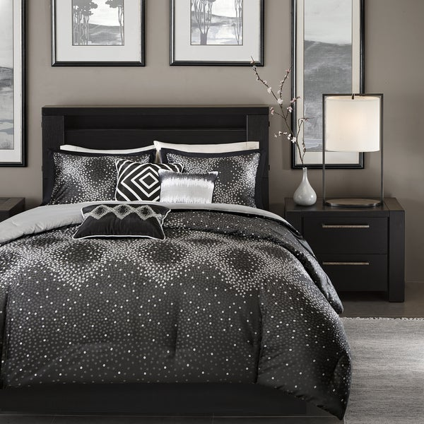 Madison Park Crawford Black Jacquard 7-piece Comforter Set