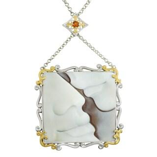 Michael Valitutti Palladium Silver Carved Shell Cameo & Fire Citrine Pendant