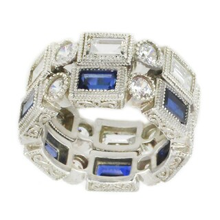 Michael Valitutti Sterling Silver Set of 2 Created Blue Sapphire & White Cubic Zirconia Stackable Ring