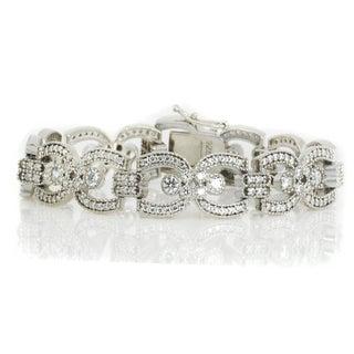 Michael Valitutti Sterling Silver Round Cubic Zirconia Link Bracelet