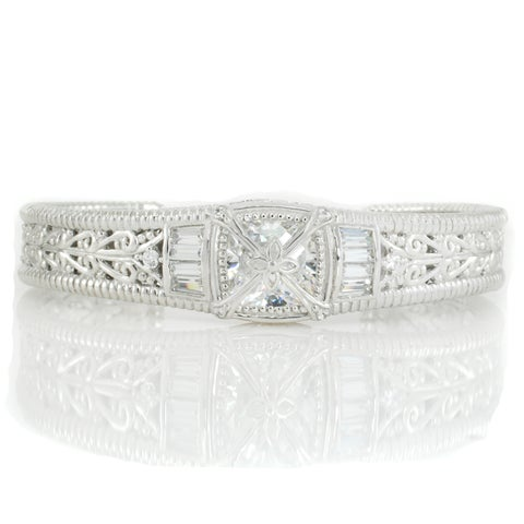 Michael Valitutti Sterling Silver Multi Shaped Cubic Zirconia Cuff Bangle Bracelet