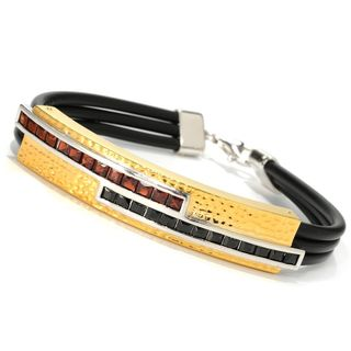 Michael Valitutti Palladium Silver Garnet & Black Spinel Rubber Cord Men's Bracelet