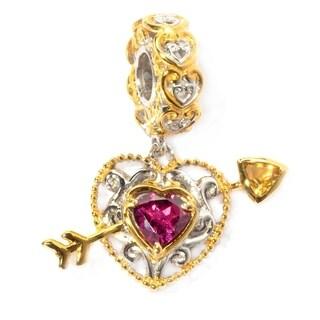 Michael Valitutti Palladium Silver Rhodolite & Citrine Heart-Arrow Drop Charm