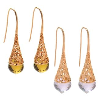 Dallas Prince Sterling Silver Briolette Shaped Gemstone Filigree Drop Earrings|https://ak1.ostkcdn.com/images/products/16900423/P23193878.jpg?impolicy=medium