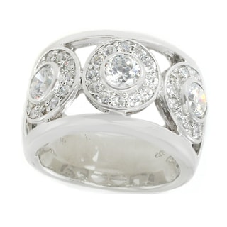 Michael Valitutti Sterling Silver Round Cubic Zirconia Circles Domed Band Ring