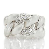 Michael Valitutti Sterling Silver Round Cubic Zirconia Band Ring
