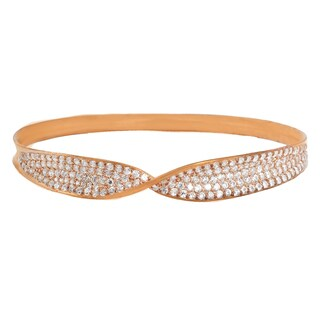 Michael Valitutti Sterling Silver Round Cubic Zirconia Twist Bangle Bracelet