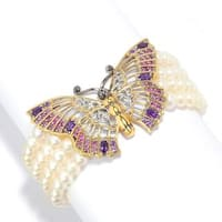 Michael Valitutti Palladium Silver Freshwater Cultured Pearl & Multi Gemstone Butterfly Bracelet