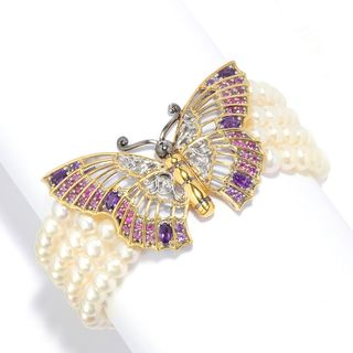 Michael Valitutti Palladium Silver Freshwater Cultured Pearl & Multi Gemstone Butterfly Bracelet