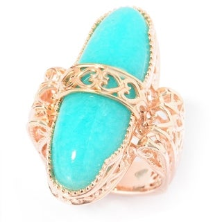 Dallas Prince Sterling Silver Oval Amazonite Heart Detail North-South Ring