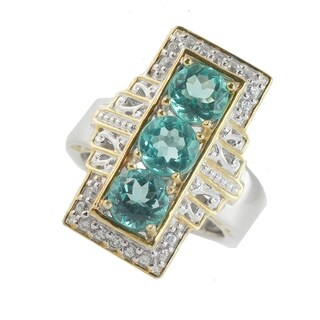 Michael Valitutti Palladium Silver Brazilian Paraiba Color Apatite & White Zircon Elongated Ring