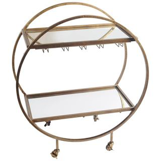 Mercana Carola Goldtone Metal Bar Cart