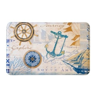 Eliza Collection Coastal Printed Memory Foam Anti-Fatigue Bath Mat