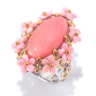Michael Valitutti Palladium Silver Salmon Bamboo Coral, Orange Sapphire & Carved Shell Flower Ring
