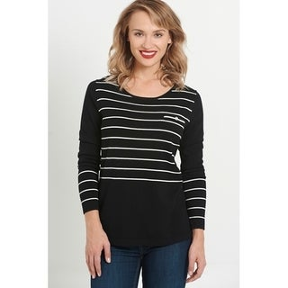 August Silk Year Round Long Sleeve Striped Sweater with Faux Back Placket