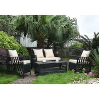 Handy Living Hayden 4 Piece Outdoor Woven Black Resin Rattan Patio Set with Beige Fabric Cushions