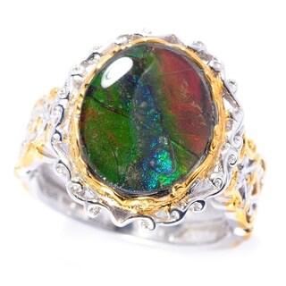 Michael Valitutti Palladium Silver Ammolite Triplet Solitaire Ring
