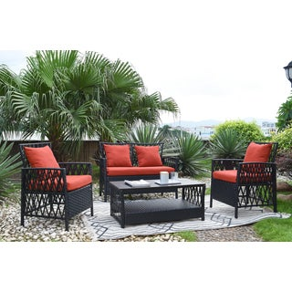 Handy Living Hayden 4 Piece Outdoor Woven Black Resin Rattan Patio Set with Terracotta Sunbrella Fabric Cushions