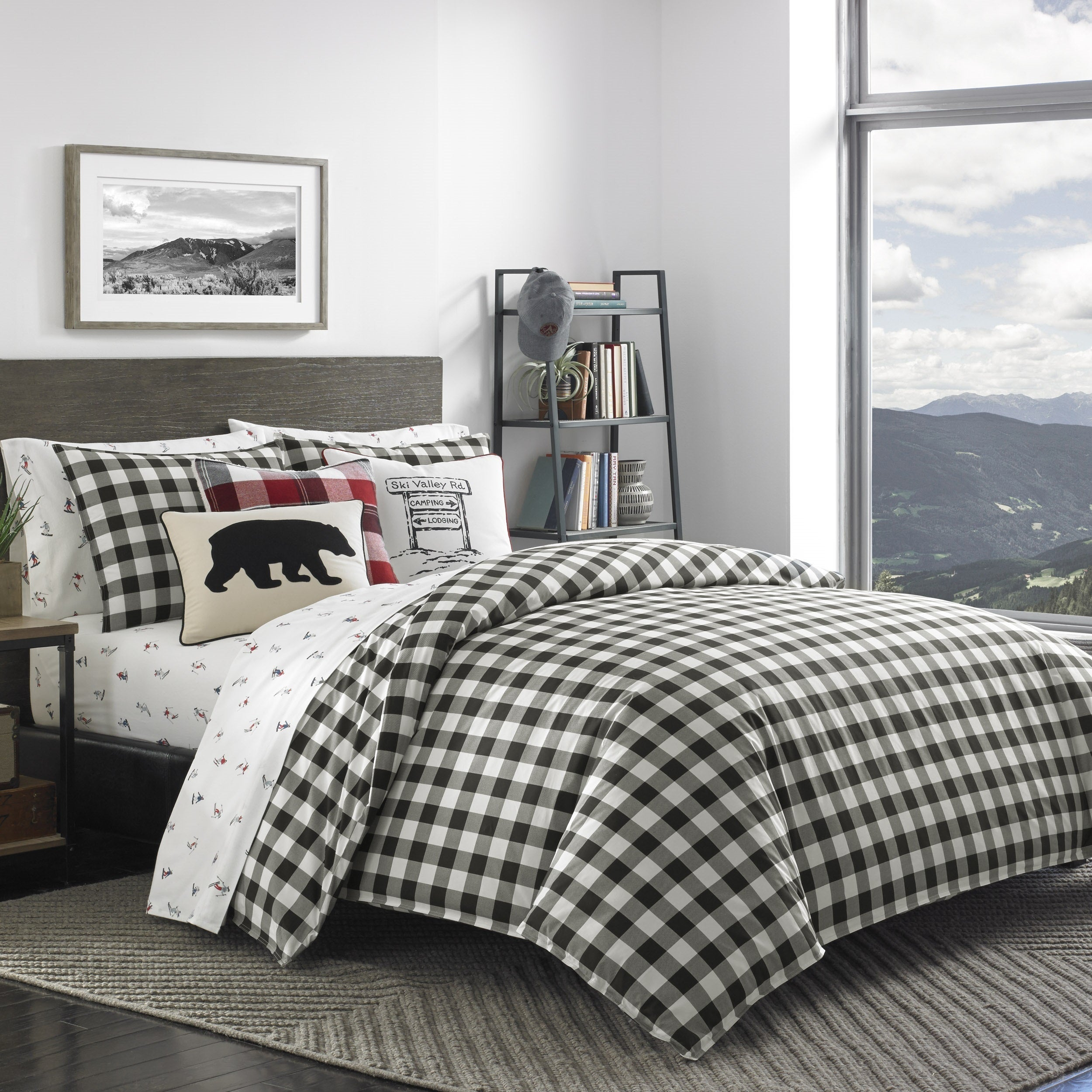 Shop Eddie Bauer Mountain Plaid Black And Off White Duvet Cover Set