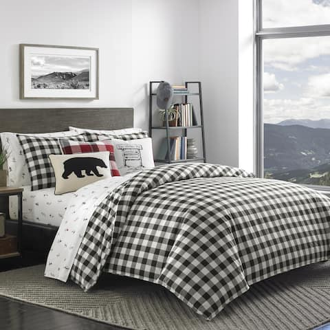 Eddie Bauer Mountain Plaid Black and Off-White Duvet Cover Set