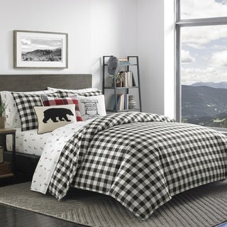Eddie Bauer Mountain Plaid Black and Off-White Duvet Cover Set (3 options available)