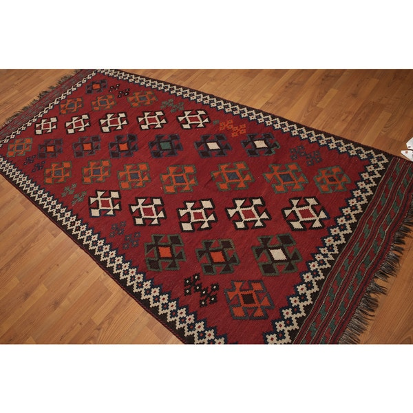 Southwestern Style Burgundy Wool Hand Knotted Persian Kilim Runner Rug 4 X27