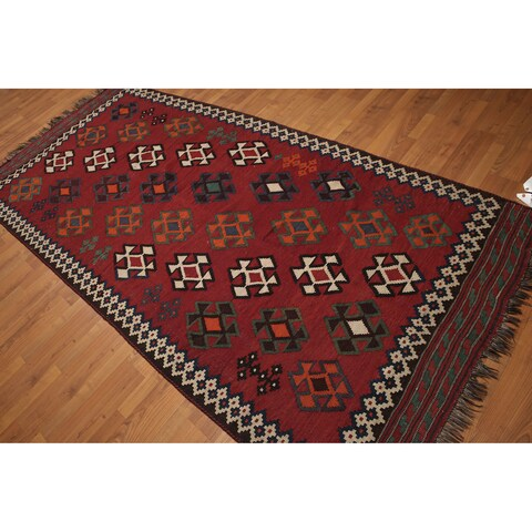 Southwestern-style Burgundy Wool Hand-knotted Persian Kilim Runner Rug - 4'9 x 10'6