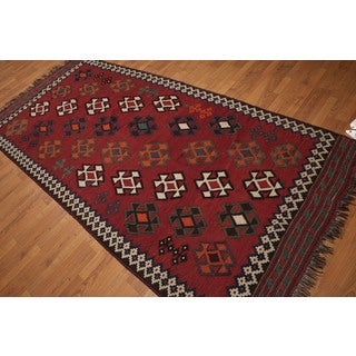 Southwestern-style Burgundy Wool Hand-knotted Persian Kilim Runner Rug (4'9 x 10'6)
