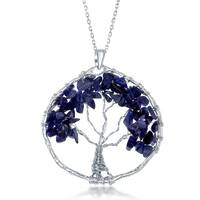 "La Preciosa Sterling Silve Handmade Natural Sodalite Stone  Beads Tree of Life Pendant  with 30"" Chain"