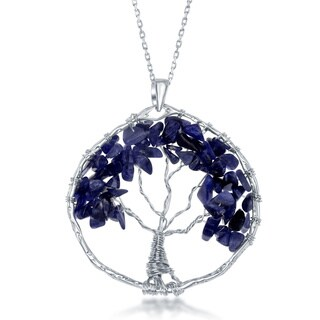 "La Preciosa Sterling Silve Handmade Natural Sodalite Stone Beads Tree of Life Pendant with 30"" Chain (Option: Sodalite)"