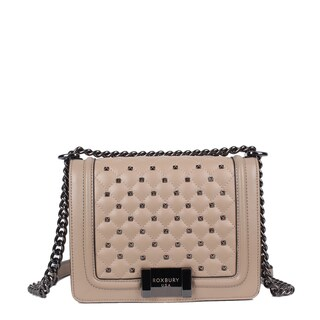 Roxbury Giotto Beige Leather and Red Satin Crossbody Bag