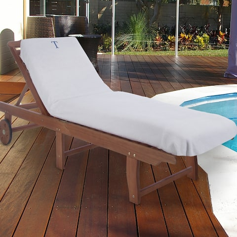 Superior 100% Cotton Monogrammed Super-Absorbent Chaise Lounge Chair Cover - 32 x 102