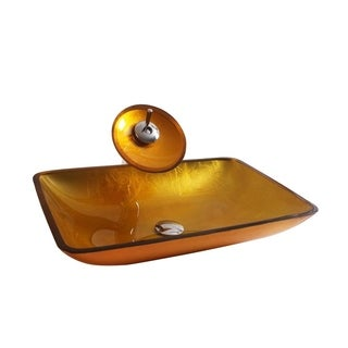 Arsumo BW10-120 Tempered Glass Vessel Bathroom Sink Set - Faucet, Pop-Up Drain and Mounting Ring,Amber,Rectangular