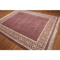 Dusty Rose/Ivory Wool Hand-knotted Tibetan Area Rug - 8' x 10'