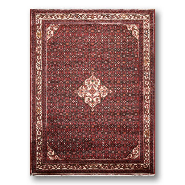 Hand-knotted Wine Red/Ivory 100-percent Wool Heriz Persian Area Rug (7' x 10') - multi