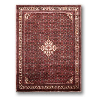 Hand-knotted Wine Red/Ivory 100-percent Wool Heriz Persian Area Rug (7' x 10')