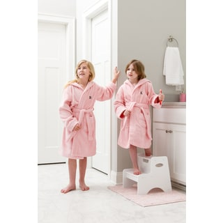 Sweet Kids Turkish Cotton Terry Pink with Black Block Monogram Hooded Bathrobe