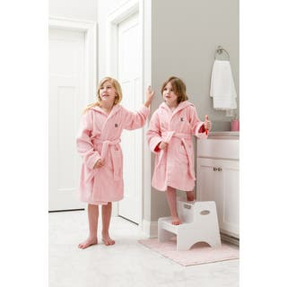 Sweet Kids Turkish Cotton Terry Pink with Black Block Monogram Hooded Bathrobe|https://ak1.ostkcdn.com/images/products/16901019/P23194376.jpg?impolicy=medium