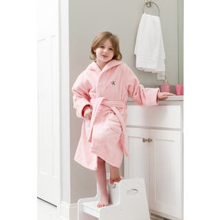 Sweet Kids Turkish Cotton Terry Pink with Black Script Monogram Hooded Bathrobe|https://ak1.ostkcdn.com/images/products/16901023/P23194377.jpg?impolicy=medium