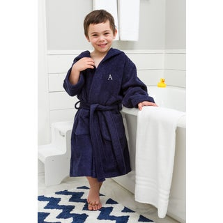 Sweet Kids Turkish Cotton Terry Midnight Blue with Grey Block Monogram Hooded Bathrobe