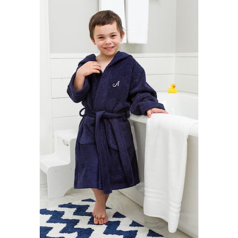 Sweet Kids Turkish Cotton Terry Midnight Blue with Grey Script Monogram Hooded Bathrobe