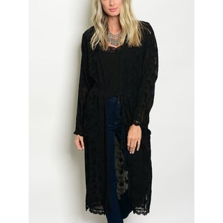 JED Women's Embroidered Black Cardigan with Self Tie Waist